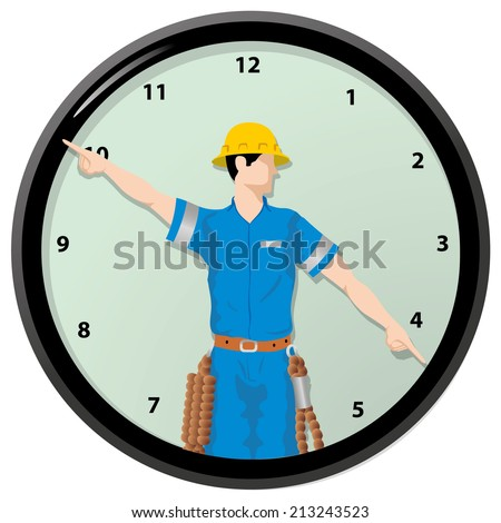 Illustration Individual worker is the hands of a clock  - stock vector