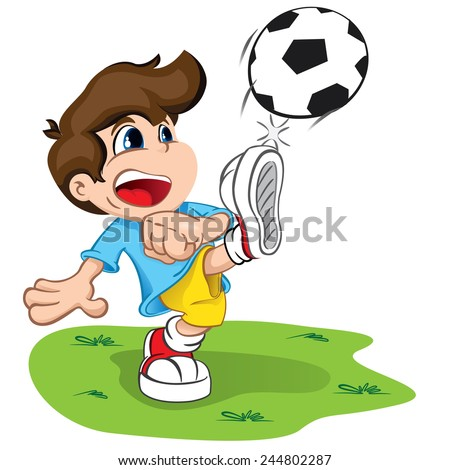 Illustration is a character child kicking a ball. Ideal for health and institutional information.  - stock vector