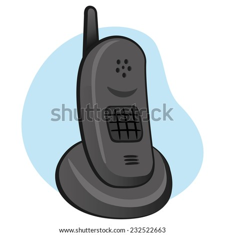 Illustration is a cordless phone with object support base - stock vector