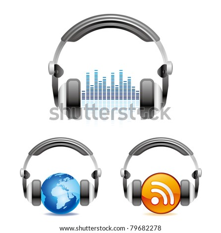 illustration is a headphones icon - stock vector