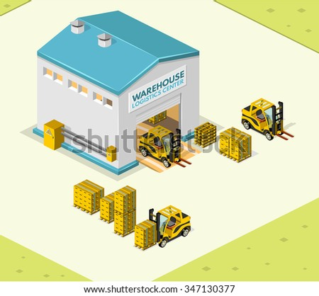 Illustration isometric style, Warehouse work , for your design - stock vector