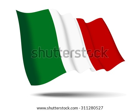 illustration italy flag waving Isolated on White Background,vector - stock vector