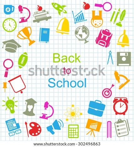 Illustration Kit of School Colorful Simple Objects and Elements on Grid Paper Sheet - Vector - stock vector