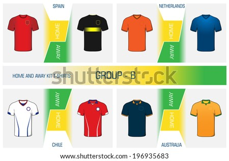 Illustration kit's set of football uniform home and away for world cup competitions - group B - EPS - stock vector