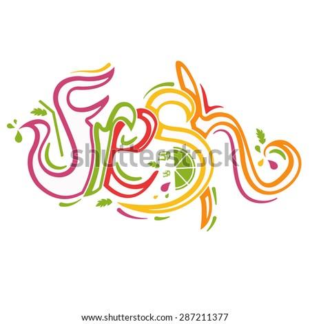 Illustration lettering Fresh.Vector - stock vector