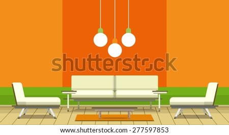 illustration living room in retro style minimalism and retro colors - stock vector