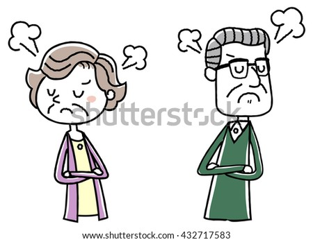 Illustration material: elderly couple quarrel question - stock vector