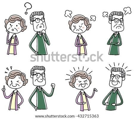 Illustration material: elderly couple variations pose - stock vector
