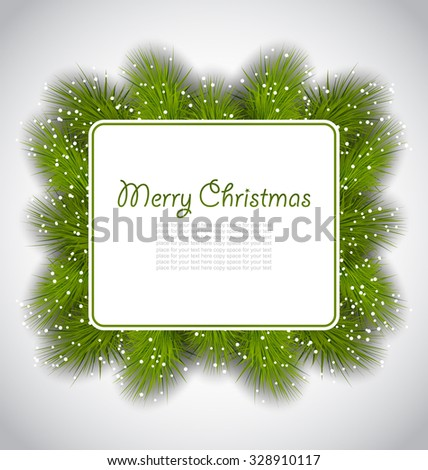 Illustration Merry Christmas elegant card with fir branches - vector - stock vector