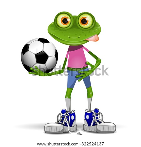 Illustration merry soccer player frog with ball - stock vector