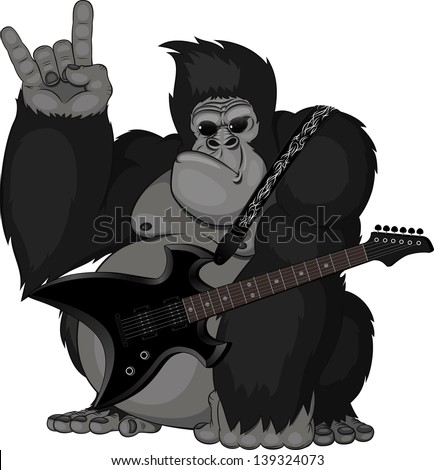 illustration: monkey with a guitar - stock vector