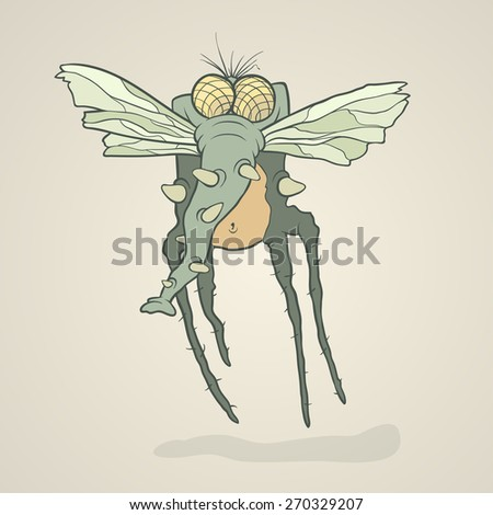 Illustration monster fly with long legs, wings and proboscis. Hand drawing cartoon. The concept of the character on a uniform background. - stock vector