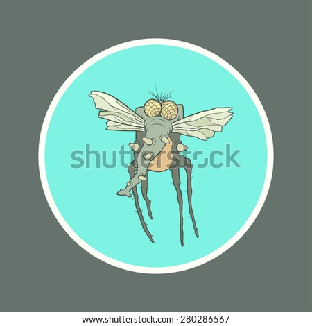 Illustration monster fly with long legs, wings and proboscis in the circle. Hand drawing cartoon. The concept of the character on a uniform background. - stock vector