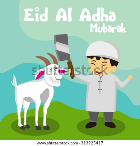 Illustration muslim children with knife of a goat on blue background for Islamic Festival of Sacrifice, Eid-Al-Adha celebration. - stock vector