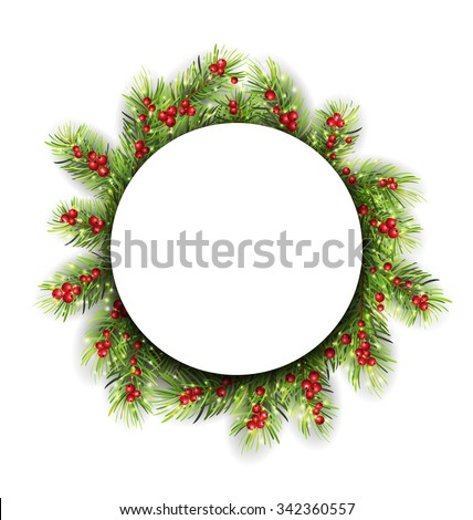 Illustration Natural Winter Frame Made in Fir Twigs and Berries, Christmas Decoration - Vector - stock vector