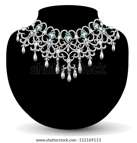 illustration necklace and earrings, wedding  diamond - stock vector