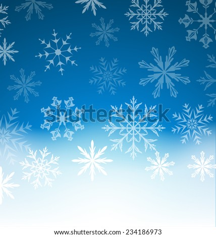 Illustration New Year blue background with snowflakes and copy space for your text - vector - stock vector
