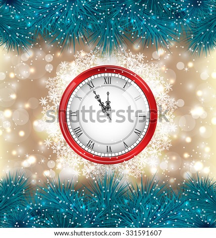 Illustration New Year Midnight Background with Clock and Fir Twigs - Vector - stock vector