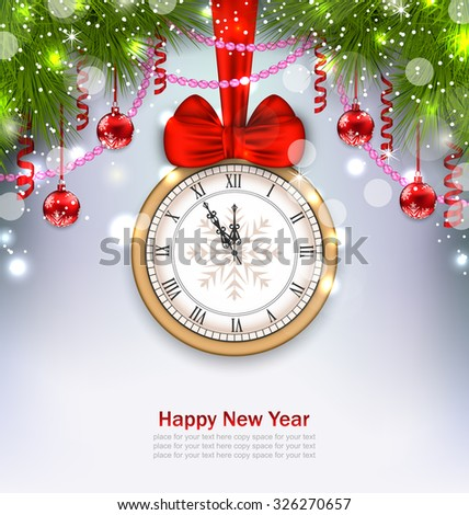 Illustration New Year Midnight Background with Clock, Balls and Fir Twigs - Vector - stock vector