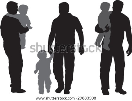 Illustration of  a a father and his child - stock vector