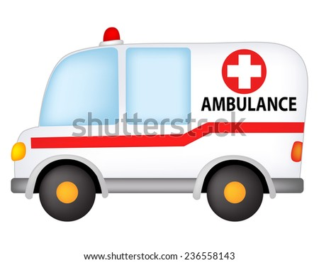 Illustration of a ambulance isolated on white background - stock vector