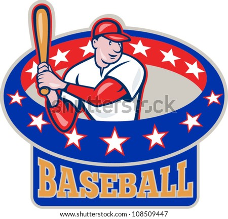 Illustration of a american baseball player batting cartoon style isolated on white with ring and stars around  and text wording baseball - stock vector