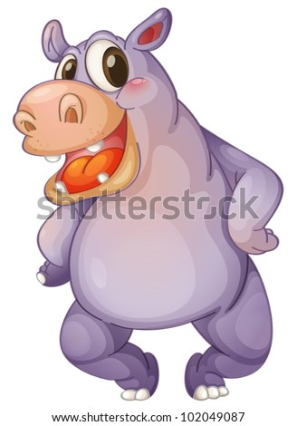 Illustration of a animated hippo - stock vector