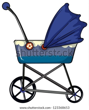 Illustration of a baby pram on a white background - stock vector