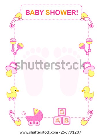 illustration of a baby shower invitation card border frame for a