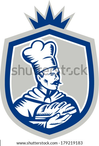 Illustration of a baker chef cook holding loaf of bread set inside shield crest done in retro woodcut style on isolated background. - stock vector