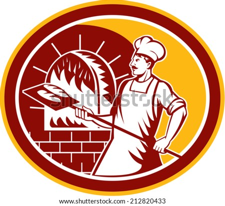Illustration of a baker holding a peel with bread into a brick oven viewed from side set inside oval on isolated background done in retro style. - stock vector