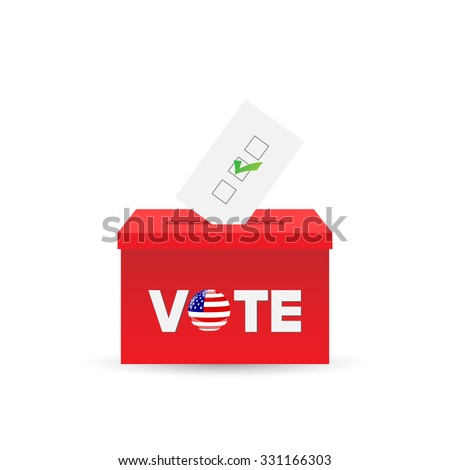 Illustration of a ballot box and vote isolated on a white background. - stock vector