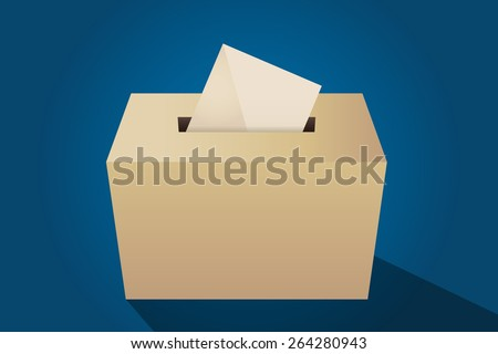 Illustration of a ballot box with an envelope, cyan background - stock vector
