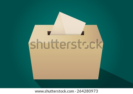 Illustration of a ballot box with an envelope, green background - stock vector