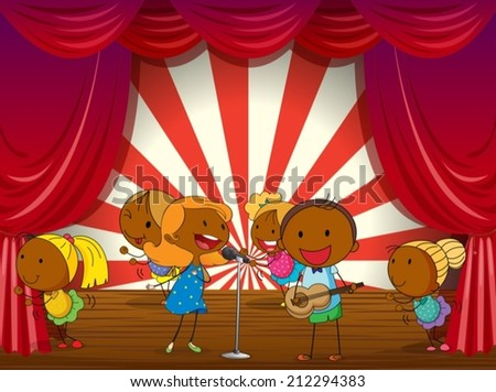 Illustration of a band performing on stage - stock vector