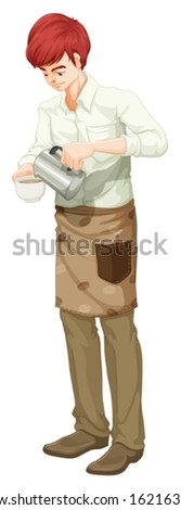 Illustration of a barista on a white background - stock vector
