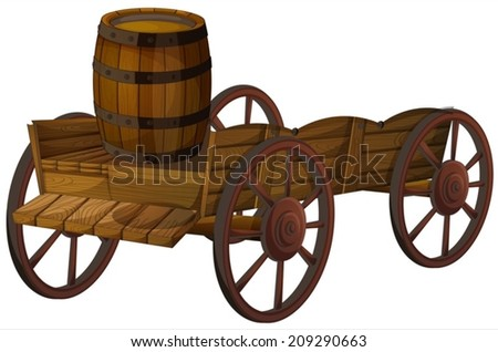 Illustration of a barrel on a wagon - stock vector