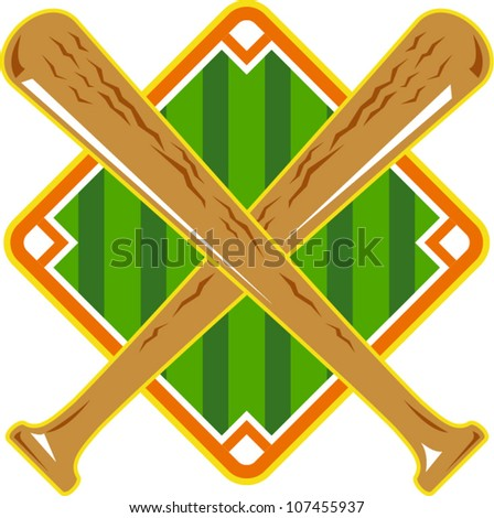 Illustration of a baseball diamond with crossed bat done in retro style on isolated white background. - stock vector