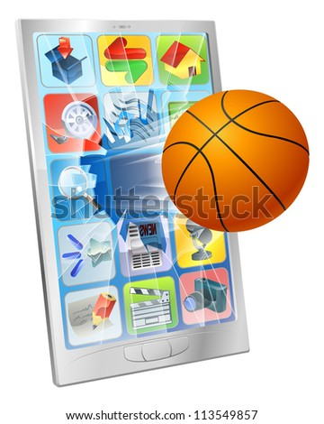 Illustration of a basketball ball flying out of mobile phone screen - stock vector
