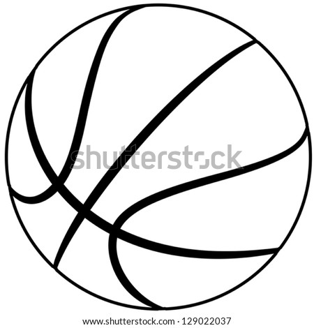 illustration of a basketball outline isolated in white background. - stock vector