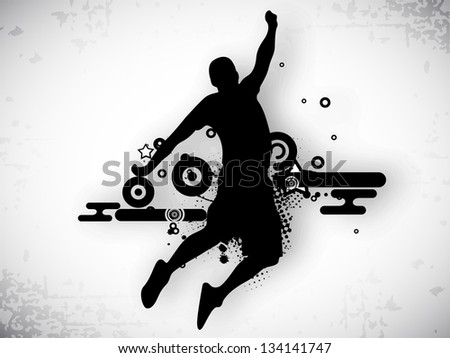 Illustration of a basketball player practicing with ball at court on abstract grungy background. EPS 10. - stock vector