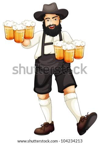 Illustration of a Bavarian man at oktoberfest - stock vector
