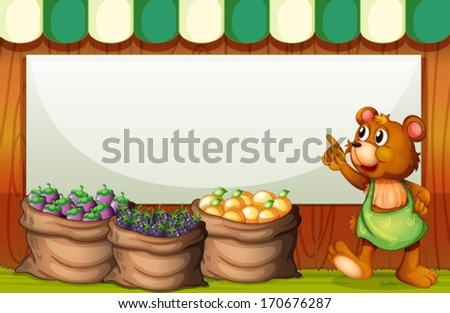 Illustration of a bear at the market in front of the empty whiteboard - stock vector