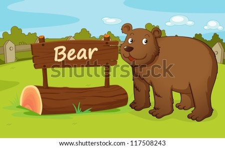 illustration of a bear in a beautiful nature - stock vector
