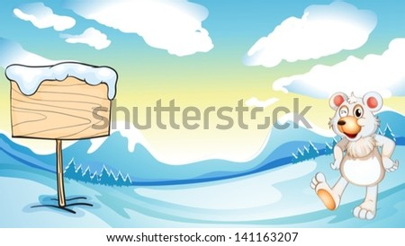 Illustration of a bear near the wooden signboard - stock vector