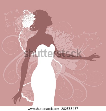 Illustration of a beautiful bride on a pink - stock vector