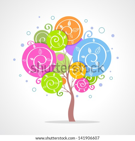 illustration of a beautiful colorful tree - stock vector