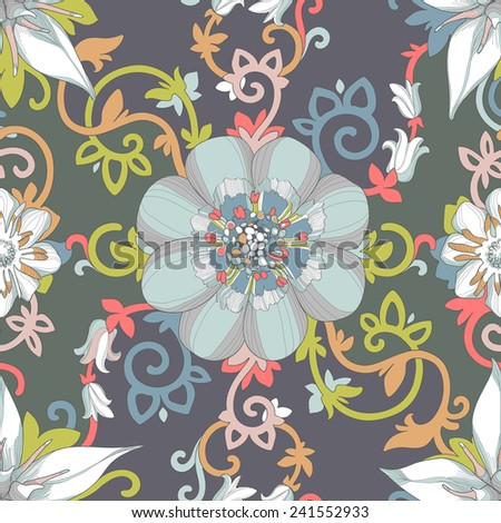 Illustration of a beautiful elegant floral design in rich colors with a high degree of detail. Multicolored flowers petals and tendrils intertwine in dramatic composition on a dark background. - stock vector