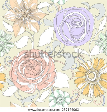 Illustration of a beautiful elegant floral pattern in pastel colors with a high degree of detail. Gentle colored flowers on a beige background. - stock vector