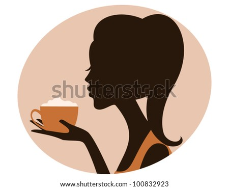 Illustration of a beautiful woman holding a cup of delicious cappuccino. - stock vector